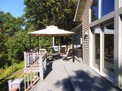 Back deck with gazebo canopy.