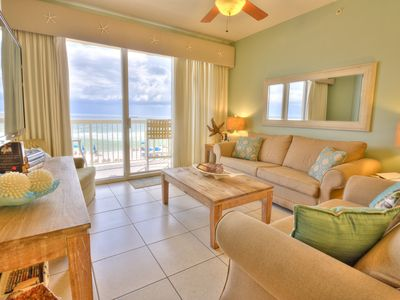 Photo for 2nd Floor Gulf Front Celadon 🐬 Aug 17wk $987 ! Incl. Beach Svc + Priv Parking