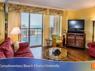 Photo for Complimentary Beach Umbrella & Chairs Included! Large Wraparound Balcony - Everyone Gets a View!!