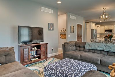 The spacious interior of this home offers high-end furnishings.