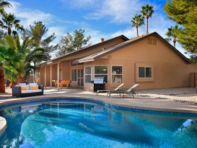 Photo for NEW LISTING! Remodeled, elegant home w/private pool, hot tub, firepit, and more!