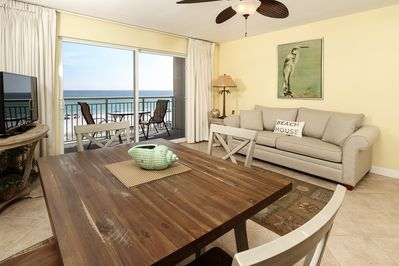 Lovely Gulf front living room - Enjoy the views from beach front living room.