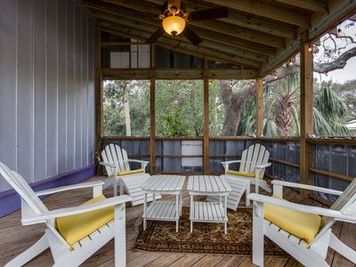 Beautiful retreat with spacious porch!  Just steps to beach! Pet Friendly. WiFi