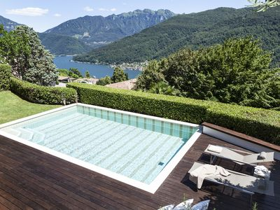 Photo for Luxury Design Villa and heated pool with  breath-taking views over Lake Lugano