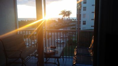 Beach and Tennis Club, 5th Floor, view of sunset from the Lanai