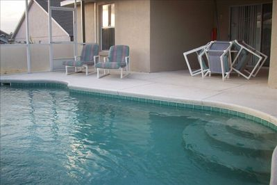 Covered lanai pool area, Provides privacy and coverage just in case it rains!