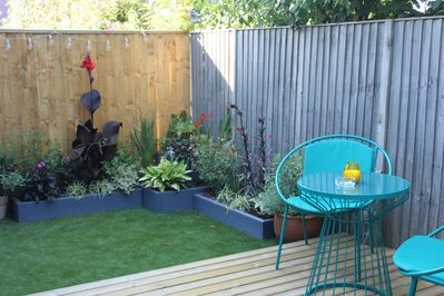 Secluded Garden and Decking to enjoy a glass of wine on a summer's evening.