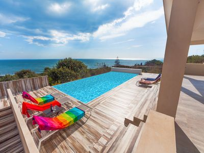 Photo for Majestic villa with endless view, pool, near sandy beaches
