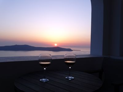 Sunset view from the private terrace of the Studio