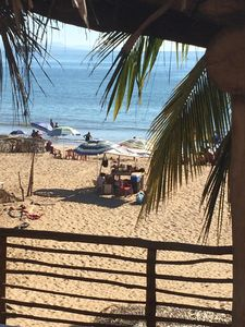 View of beach from kitchen patio