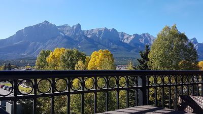 Mountain view of Mt Rundle from balcony.