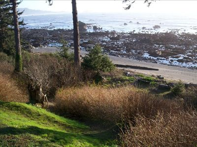 Trail to the beach during low tide - Lots of tide pools to discover ocean life.