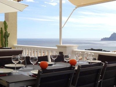 Photo for Holiday house in Altea Hills, WIFI, 80 m2 terrace and sea and mountain view, SPA