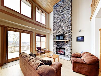 Photo for Mountaintop Magic: 4BR w/ Enclosed Heated Pool & Volleyball, Near Skiing