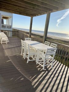 Large Main deck with stunning views, dining area for 6 & 5 rocking chairs