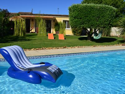 Photo for cottage ZEN 2 people in village near Nimes air conditioning swimming pool garden