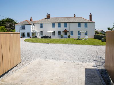 Photo for Stunning house overlooking Porthcothan Bay, Sea views, Sauna, 600m from beach