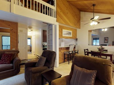 Photo for Romantic mountain condo w/ shared pool, hot tub, deck, & wood-burning fireplace