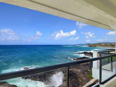 Exhilarating, dramatic oceanfront location at  Poipu Shores 306A with a/c