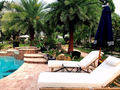 spa and lounge chairs