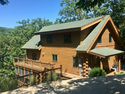 Photo for Edgewater Lodge - Luxury 4BR Cabin w/Private Boat Dock/Swim Deck on Beaver Lake!