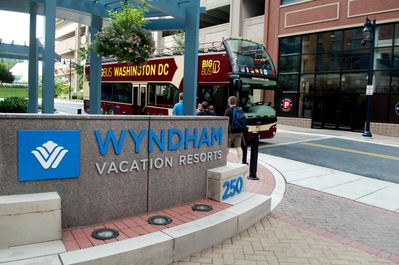 Wyndham's Entrance -- The Big Red Hop On/Hop Off Bus picks up here too!