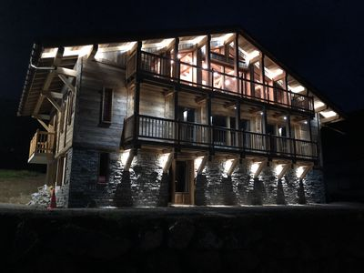 Photo for CHALET ON THE SLOPES AT THE DEPARTURE OF THE TELES. LA LOGERE, SWIMMING POOL, SAUNA, JACUZZI