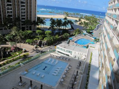 View on lanai of two pools/lagoon/ocean.  from Lanai