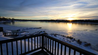 Enjoy incredible winter time sunset from the upstairs balcony.