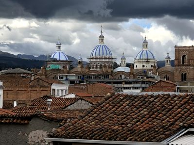 View of the blue domes from the balcony