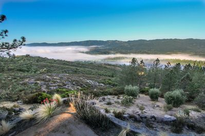 View south over Saint Helen to Yountville  above the morning fog layer.