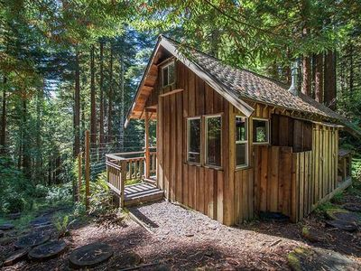 Photo for 2 Rustic Cabins & Treehouse On Creek in Redwoods