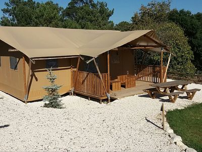 Photo for Tent lodge with sanitary facilities at the Bedafse Bergen