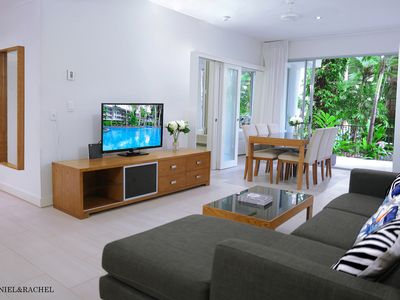 Photo for Stunning Poolside Apartment Ground Floor 2BR - 2 Mins to Beach & Free Wifi