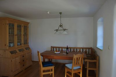 The dining area in the large kitchen