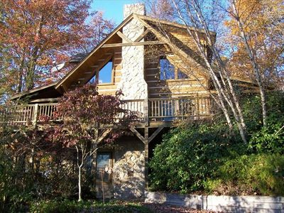 Photo for Beautiful Custom Log Cabin - Majestic Mountain Views