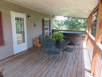 The covered back deck is one of the highlights of this cabin.