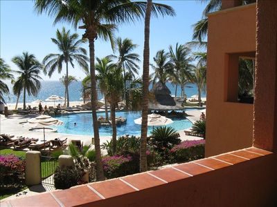 A view from our second floor condo overlooking the Krystal pool and beach.