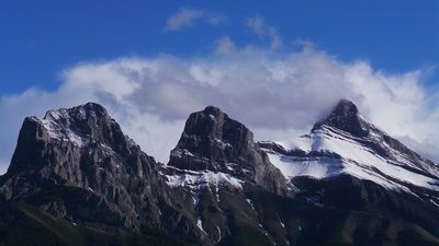 View of Three Sisters from private balcony.