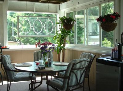 Enclosed back porch for grilling and eating