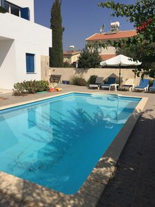 Pool and sun lounger area