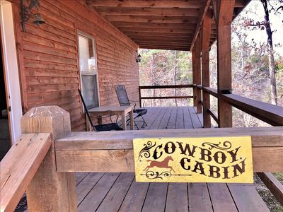 Photo for Cowboy Cabin, King, GIANT SPA TUB, Wooded Views, Hiking