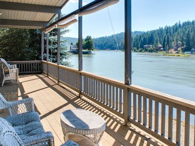 Photo for Cozy lakefront cottage w/ gorgeous view, private dock & more - dogs ok!