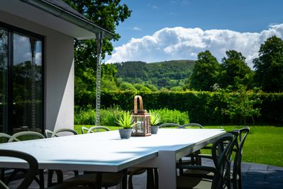 Outdoor dining with uninterrupted panoramic views of the Malvern Hills AONB