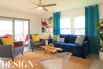 Bright pops of cheerful teal blue throughout.