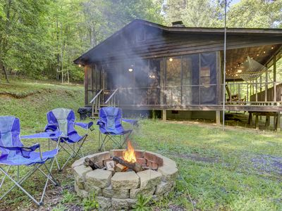Photo for Secluded cabin on three gorgeous acres with a creek & firepit