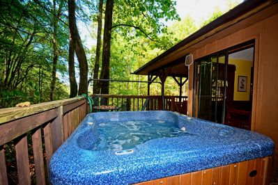 Enjoy the hottub and outdoor peacefulness that The Waterfall Cabin has to offer.