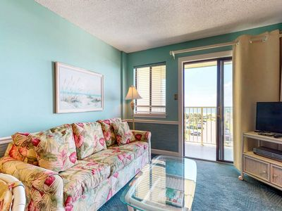Photo for NEW LISTING! Breezy Gulf-view condo w/fitness center, shared pools, hot tub