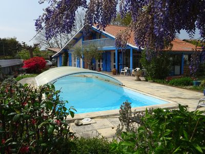 Traditional Landes house, covered swimming pool, closed ground. - Sanguinet