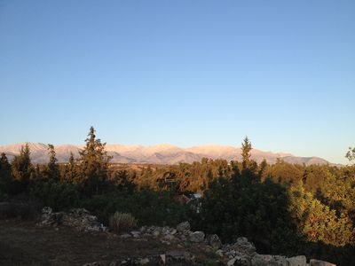 Garden view of the White Mountains at sunrise
